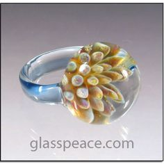 Blown Glass Ring  blue sea anemone boro lampwork ♥ by GlassPeace, $30.00