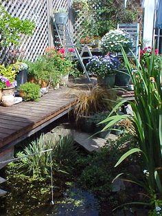 Narrow water feature with bridge Water Features, Bridge, Garden, Plants, Water Sources, Garten, Flora, Plant, Tuin