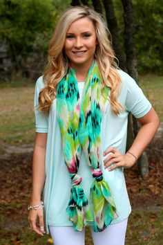 mint piko with spring scarf! LOVE!
