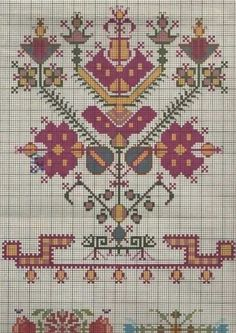 This Pin was discovered by Yen Border Embroidery Designs, Folk Embroidery, Vintage Embroidery, Cross Stitch Embroidery, Embroidery Patterns, Cross Stitch Borders, Cross Stitch Flowers, Cross Stitching, Cross Stitch Patterns