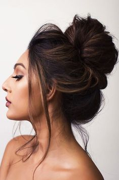 A Boho High Bun Hairstyle #bun #updo