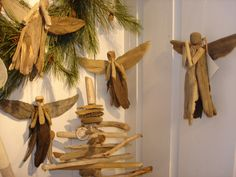 driftwood angels for Christmas
