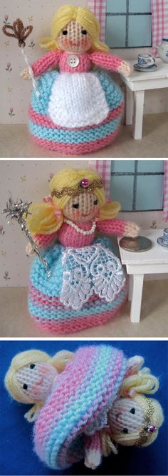 Free Knitting Pattern for Tiny Topsy Doll - This topsy turvy doll turns into a tooth fairy with the flip of the dress. Designed by Wendy Phillips