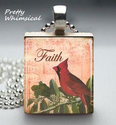 Red Bird Cardinal Faith Necklace Scrabble Tile by prettywhimsical, $9.00