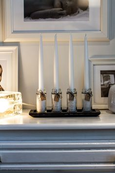 DIY adventtikynttelikkö // DIY Advent Candles  http://kotvasia.blogspot.fi/2014/11/diy-adventtikynttelikko.html