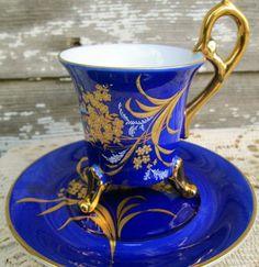 Vintage Teacup Saucer Colbalt Blue Hand Painted by Holliezhobbiez, $22.50