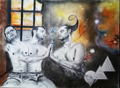 Connection by Ivaylo Mitev - depicts the touch between three figures (again me) while one of them (coming from the cosmos) brings the devine to give it to the mortal. I believe everybody has twin - one who lives in the world beyond our knowledge and one who's always with us trying to connect with the cosmic one. How To Have Twins, Drawing Tips, Cosmic, Connection, Drawings, Loneliness, Painting, Knowledge, Touch