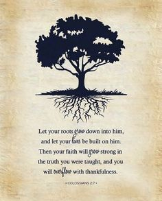 Rooted  and built up in him and stablished in the faith,as ye have been taught, abounding therein with thanksgiving.
