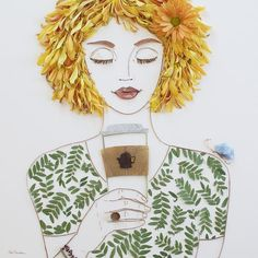 """Print of original flower creation by Vicki Rawlins, """"But First, Coffee"""" is originally made from live flowers, dried foliage, and foraged twigs! No glue, no tape, just mother nature balancing delicatel"""