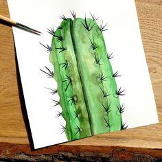 Kaktus mit Aquarellfarben gemalt #aquarell #kaktus Instagram, Pictures, Cactus, Creative