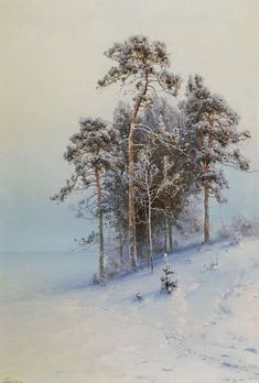 🎨 'Winter Pine Trees in Mountains', (before 1900) 👨🎨 Alexei Alexandrovich Pisemsky