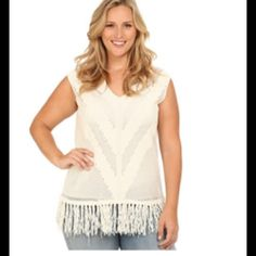 """WOMEN'S SIZED SHEER FRINGED TOP (XXL) Fits 18W-20W. V- neck. Sheer cotton fabrication cap sleeve design. 100% cotton. Fringe is 70% cotton and 30% nylon. Length is 32"""". NO MODELING. NO TRADES. Vince Camuto Tops"""