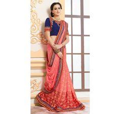 Pink and Blue Jacquard embroidered designer saree