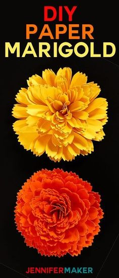Make a DIY Paper Marigold Day of the Dead Dia de los Muertos Autumn and Fall Flowers Papercraft Tutorial paper flower tutorial Paper Flower Tutorial, Paper Flowers Diy, Flower Crafts, Flower Diy, Mexican Paper Flowers, Flower Making, Day Of The Dead Diy, Day Of The Dead Party, Mason Jar Diy