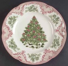 Johnson Brothers Old Britain Castles Pink Christmas Dinner Plate 5443243 for sale online Christmas Dinner Plates, Christmas Dinnerware, Christmas China, Pink Christmas Tree, Shabby Chic Christmas, Christmas Tablescapes, Vintage Christmas, Christmas Time, Christmas Decorations
