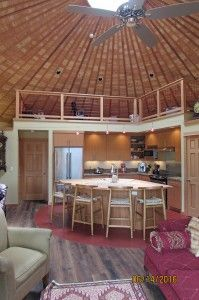 Please note the interiors that you see here are being created by the owners of these fantastic homes. To be clear Smiling Woods Yurts supplies the exterior of the main yurt structure which includes walls (with siding windows and doors) - August 17 2019 at Yurt Interior, Interior Columns, Interior Barn Doors, Silo House, Barn Door In House, Custom Wood Doors, Wooden Doors, Pine Doors, Entry Doors