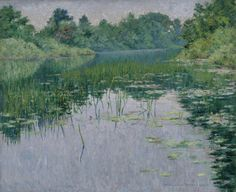 John Leslie Breck , Grey Day on the Charles. 1894 Oil On Canvas 18 x 22 in. 45.7 x 55.9 cm Virginia Museum of Fine Arts The J. Harwood and Louise B. Cochrane Fund for American Art
