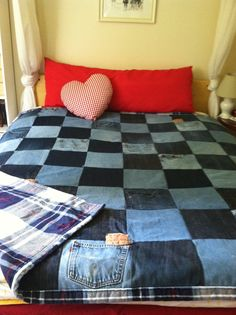 Jean quilt with a flannel sheet as backing...I want to make a jean quilt with all my scraps.