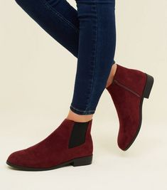5a2e68d0eb9 Wide Fit Dark Red Faux Snake Panel Chelsea Boots