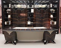 Designer, stylised Art Deco Macassar Ebony Desk with leather detail.