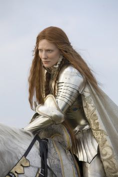 White armour of Queen Elizabeth in the movie.
