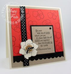 Simple but elegant square card with black polka dot ribbon and stamped background