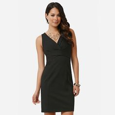 daisy fuentes Solid Sheath Ponte Dress...in black...like that one too.