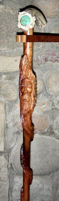 "A ""Moses"" Wood Spirit Carved Walnut Folk-Art Walking Cane with Deer Antler & Turquoise Handle"