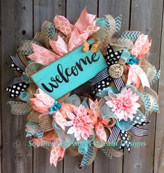 How To Make Door Wreaths Projects 23 Ideas For 2019 Wreath Crafts, Diy Wreath, Wreath Ideas, Wreath Making, Burlap Wreath, Deco Mesh Wreaths, Door Wreaths, Welcome Wreath, Summer Wreath
