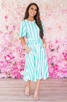 The Dorris Striped Modest Midi Dress - NeeSee's Dresses Vertical Striped Dress, Vertical Stripes, Flowy Skirt, Waist Skirt, Good Day Sunshine, Button Skirt, Modest Dresses, Paisley, Shirt Dress