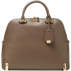 ZAC Zac Posen Daphne Saffiano Leather Dome Satchel ($319) ❤ liked on Polyvore featuring bags, handbags, brown, brown satchel handbags, brown purse, zac zac posen satchel, satchel handbags and handle satchel