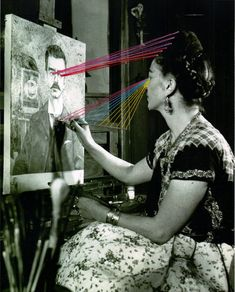 Frida Kahlo painting the portrait of her father, Photograph: Gisèle Freund © Banco de México. Fideicomiso Museos Diego Rivera y Frida Kahlo. Norman Rockwell, Famous Artists, Great Artists, Top Artists, Frida E Diego, Natalie Clifford Barney, Frida Paintings, Martin Munkacsi, Kunst Online