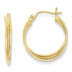 14k Polished and Textured Circle Hoop Earrings TL682
