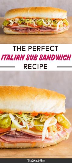 Italian Hoagie Roll - This Italian sub is loaded with cured meats, cheese and herbs, then smothered with a pickled cherry pepper spread and topped with oil and red wine vinegar. == CLICK THROUGH TO SEE! Roast Beef Sandwich, Meat Sandwich, Soup And Sandwich, Sandwich Recipes, Sandwich Ideas, Sandwich Spread, Vegetarian Sandwiches, Bread Recipes, Fast Recipes