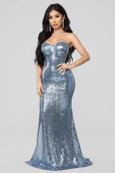 Ice Blue Queen Sequin Dress - Icy Blue 33973eccf7bf