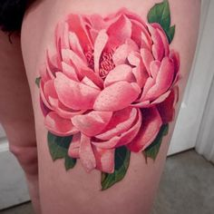 Peony tattoo by @soso_ink