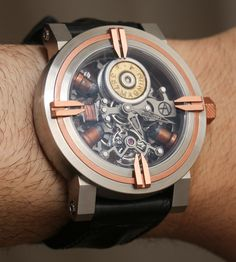 Not that this comes as a surprise to many people, but this watch is the first time anyone has combined a tourbillon movement with real bullets.