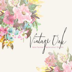 Watercolour Vintage Floral Art Collection Hand by CreateTheCut