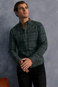 Mens Man By Lipsy Check Shirt -  Green Green Shirt Outfits, Checked Shirt Outfit, Men's Clothing Looks, Gents Shirts, Check Shirt Man, Mens Outdoor Clothing, Moda Casual, Outdoor Outfit, Collar Shirts