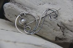 Shawl pin sterling silver silver 925 and pearl by Keepandcherish, $39.00