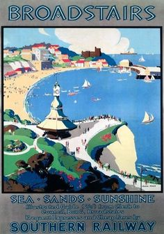 Broadstairs, Kent. Vintage Southern Railway Travel poster art by John Mace. 1929