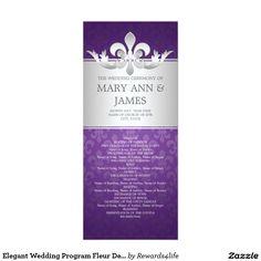 Elegant Wedding Program Fleur De Lis Purple 4x9.25 Paper Invitation Card