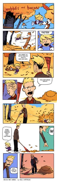 Hobbes and Bacon 2 by ~Phill-Art on deviantART,,,loved calvin and hobbes and this is a wonderful continuation of that Calvin Y Hobbes, Sir Francis, Cute Comics, Funny Comics, Funny Cartoons, Baymax, Hobbes And Bacon, Jagodibuja Comics, The Awkward Yeti