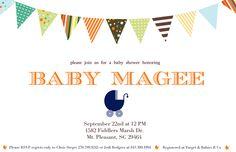 Baby Shower Invitation - Printable - Digital File - Flag Banner. $10.00, via Etsy.
