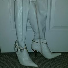 Boots Baby phat gold charmed and gold 3 inch heel to the knee off white boot Baby Phat Shoes Heeled Boots