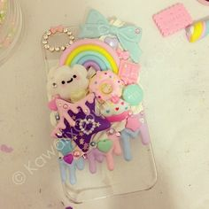 For iPhone 4/4s  will be listed soon ✨ www.KawaiixCoutureDecoden.com✨ Kawaii rainbow made by @miss_kirakira exclusively for KxC! Check out misskirakira.com for more adorable handmade creations!