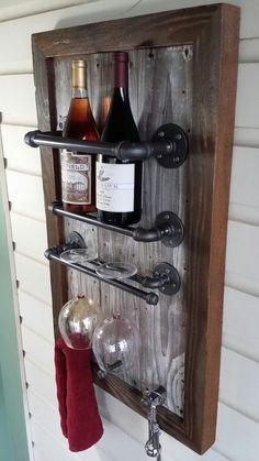 Wine Rack, Reclaimed Wood, barn wood, Industrial, pipe, wine julia, on Etsy, $179.40 CAD: