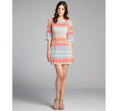 Donna Morgan turquoise and coral ikat printed jersey knit dress
