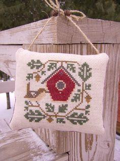 Cross Stitch Ornament/Door Hanger Wren & Bird by Stitchcrafts, $18.00