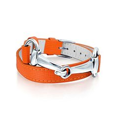 Bling Jewelry Orange Synthetic Leather Horses Bit Bracelet Rhodium Plated ** Check this awesome product by going to the link at the image.
